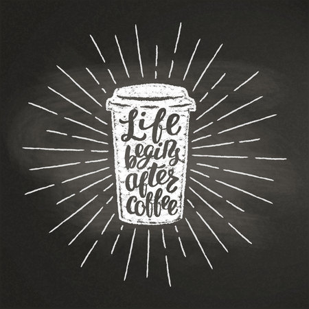 Chalk textured paper coffee cup silhouette with vintage sun rays and lettering on black board.