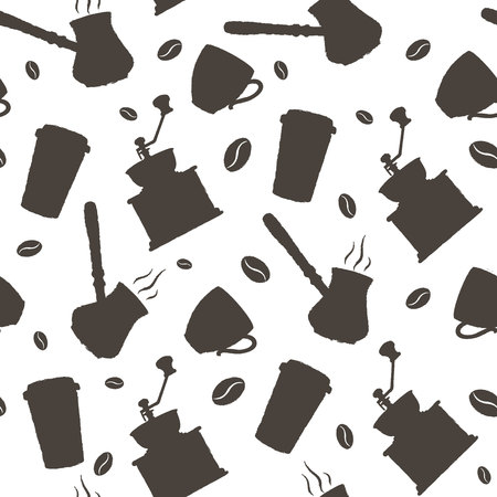 Hand drawn coffee pattern.