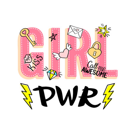 Girl Power lettering with girly doodles and hand drawn phrases for valentines day card design