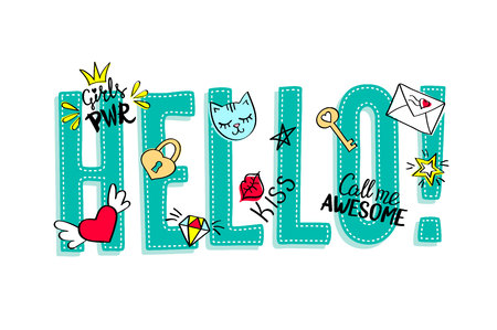 Hello lettering with girly doodles and hand drawn phrases for valentines day card design