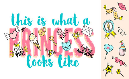 This is what a Princess looks like lettering with girly doodles and hand drawn phrases for valentines day card design