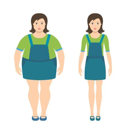 Fat and slim girls illustration in flat style.
