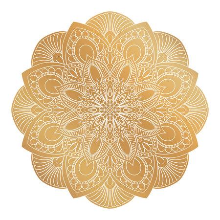 A Vector golden Mandala ornament. Vintage decorative elements. Oriental round pattern. Islam, Arabic, Indian, turkish, pakistan, chinese, ottoman motifs. Hand drawn floral background. Illustration