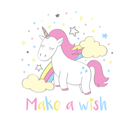 Magic cute unicorn in cartoon style with hand lettering Make a wish. Doodle unicorn with rainbow and clouds vector illustration for cards, posters, kids t-shirt prints, textile design.