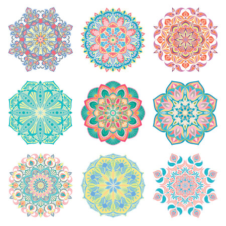Set of 9 hand-drawn colorful vector Arabic mandala on white background. Round abstract ethnic oriental ornaments. Illustration