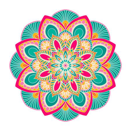 A Vector Mandala ornament. Vintage decorative elements. Oriental round pattern. Islam, Arabic, Indian, turkish, pakistan, chinese, ottoman motifs. Hand drawn floral background. Illustration
