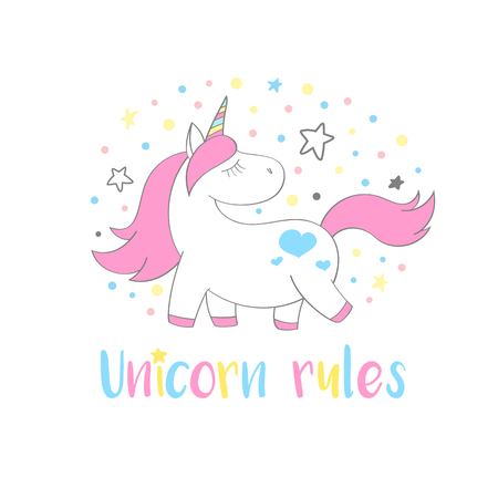 Magic cute unicorn in cartoon style with hand lettering Unicorn rules. Doodle unicorn  vector illustration for cards, posters, kids t-shirt prints, textile design. Illustration