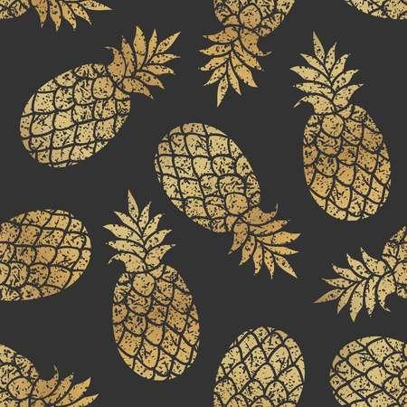 Golden pineapples seamless vector pattern on transparent background. Illustration