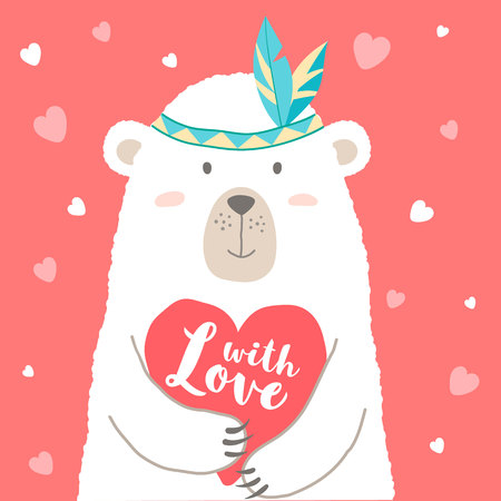Vector illustration of cute cartoon bear holding heart and hand written phrases for valentines card,  placards, t-shirt prints, greeting cards. Valentines day greeting.