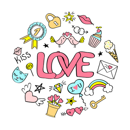 Love  lettering with girly doodles  for valentines day card design, girls t-shirt print, posters. Hand drawn fancy comic slogan in cartoon style. Illustration