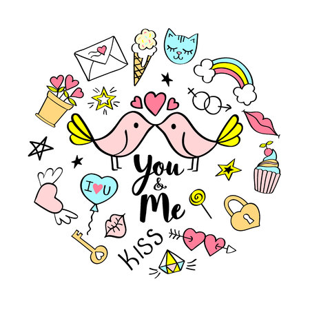 You and Me lettering with girly doodles for valentines day card design, girls t-shirt print, posters. Hand drawn fancy comic slogan in cartoon style.