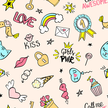 Seamless pattern with hand drawn girly doodles. Repeating background with childish sketch design elements for textile, wallpaper, scrap booking.