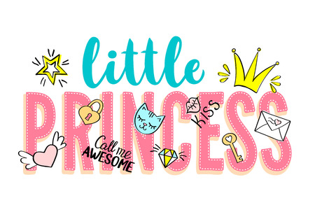 Little Princess lettering with girly doodles and hand drawn phrases for card design, girl's t-shirt print, posters. Hand drawn slogan. Ilustração