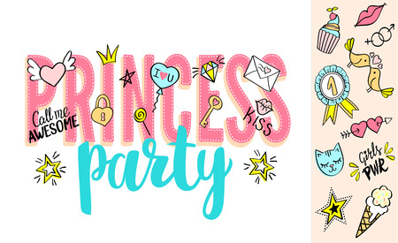 Princess Party lettering with girly doodles and hand drawn phrases for valentines day card design, girls t-shirt print. Hand drawn Princess Party slogan. Illustration