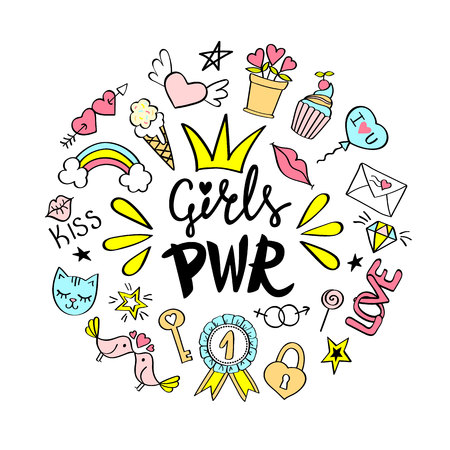 Girls Power lettering with girly doodles for valentines day card design, girl's t-shirt print, posters. Hand drawn fancy comic feminism slogan in cartoon style.