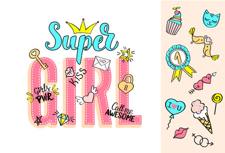 Super Girl lettering with girly doodles and hand drawn phrases for valentines day card design in cartoon style.