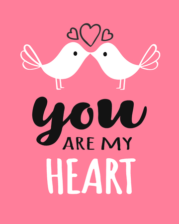 You and Me lettering with kissing birds for Valentines day card, poster, banner or label. Vector valentines day illustration.