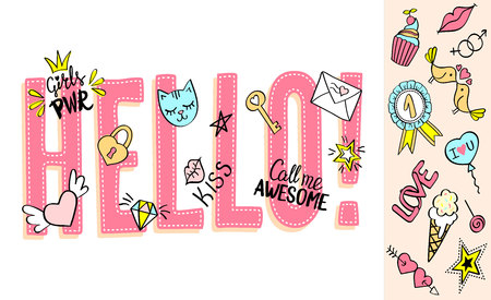 Hello lettering with girly doodles and hand drawn phrases for valentines day card design, girls t-shirt print. Hand drawn hello slogan