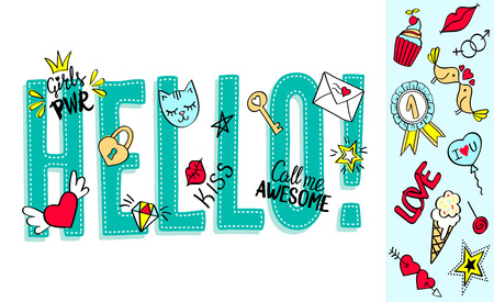 Hello lettering with girly doodles and hand drawn phrases for valentines day card design, girls t-shirt print. Hand drawn hello slogan. Illustration