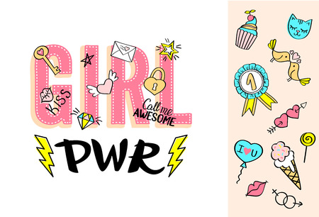 Girl Power lettering with girly doodles and hand drawn phrases for valentines day card design, girls t-shirt print. Hand drawn fancy comic feminism slogan in cartoon style.