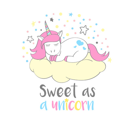 Magic cute unicorn in cartoon style with hand lettering Sweet as a unicorn. Doodle unicorn vector illustration for cards, posters, kids t-shirt prints, textile design.