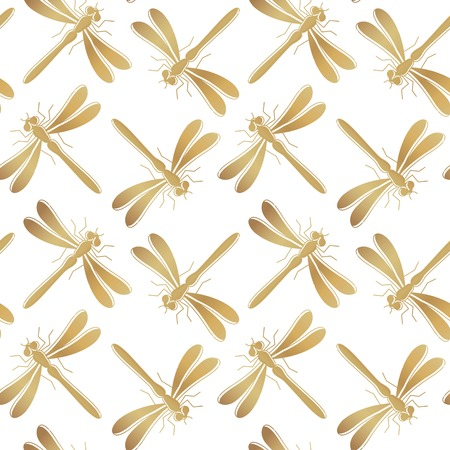 Golden dragonfly vector seamless pattern for textile design, wallpaper, wrapping paper or scrapbook.