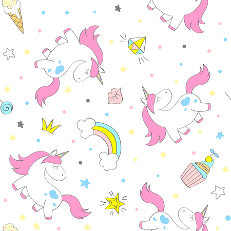Illustration of a seamless vector unicorn, cakes and ice-cream pattern on awhite background