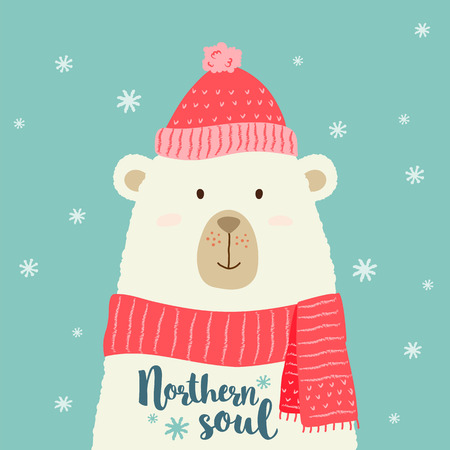 Vector illustration of cute cartoon bear in warm hat and scarf with hand written greeting christmas phrases for placards, t-shirt prints, greeting cards. Stock Vector - 98014600
