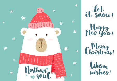 Vector illustration of cute cartoon bear in warm hat and scarf with hand written greeting christmas phrases for placards, t-shirt prints, greeting cards. Stock Vector - 97849180