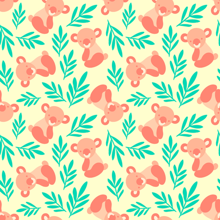 Seamless pattern with cute koala bears and leaves. Repeating background for children