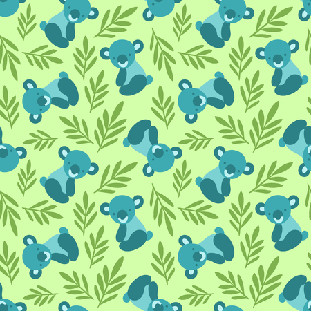 Seamless pattern with cute koala bears and leaves. Repeating background for childrens textile prints, wrapping paper. Kids animal pattern. Illustration