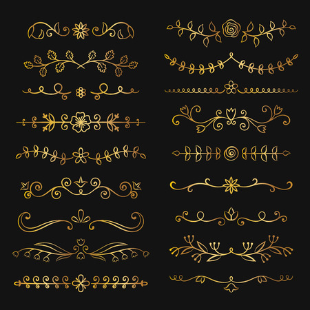 Collection of golden hand drawn flourish text dividers. Doodle gold botanical borders for typography design, invitations, greeting cards. Calligraphic and floral design elements. Illustration