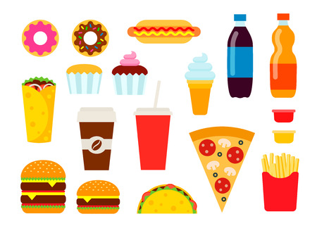 Colorful fast food set in flat style. Illustration