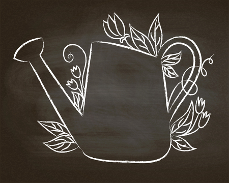 Chalk contour of vintage watering can with leaves and flowers on chalk board.