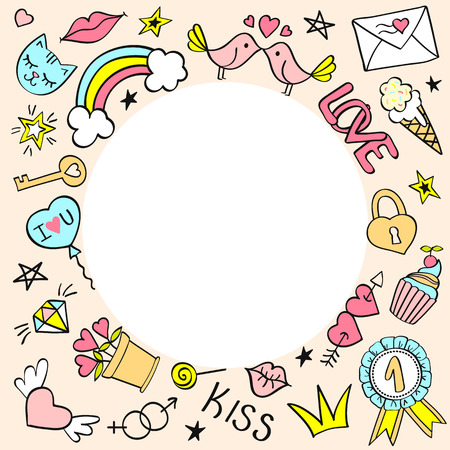 Round frame with hand drawn girly doodles for valentines day, birthday cards, posters. Vector illustration.