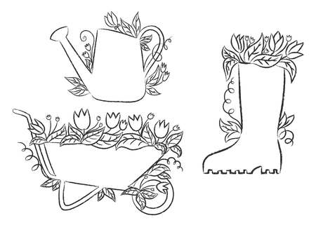 Grunge contours of watering can, boot and barrow with leaves and flowers. Collection of grunge contour gardening placards. Stock Vector - 100421749