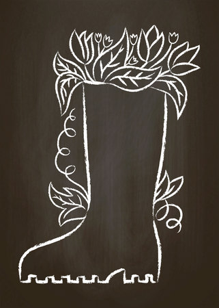 Chalk contour of rubber boot with leaves and flowers on chalk board. Typography gardening poster. Stock Vector - 100528026