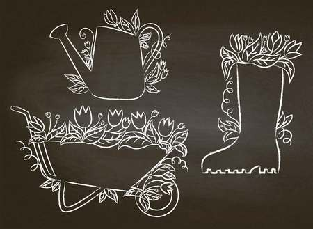 Chalk contours of watering can, boot and barrow with leaves and flowers.Collection of gardening placards on blackboard. Gardening typography posters set. Stock Vector - 100501932