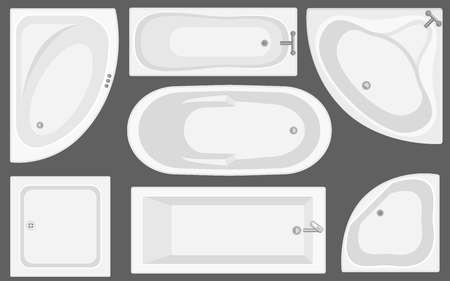 Bathtub top view collection.Vector illustration in flat style. Set of different tubs types.