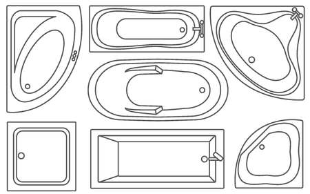 Bathtub contours top view collection.Vector illustration. Set of different tubs types.