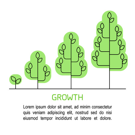 Tree growing process infographics. Growth concept line art icons.