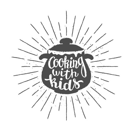 Pot silhoutte with lettering - Cooking with kids - and vintage sun rays. Good for cooking logotypes, bades or posters. Illustration