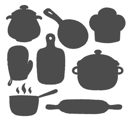 Collection of cooking label or logo. Silhouettes of kitchen utensils  and cooking  supplies icons. Illustration