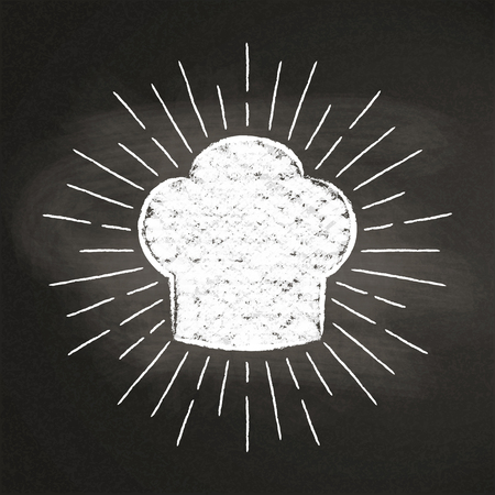 Chef's toque chalk silhoutte with  sun rays on blackboard. Good for cooking logotypes, bades or posters. Stock Vector - 101580507