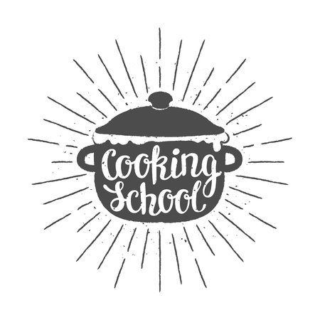 Pot silhoutte with lettering - Cooking school - and   vintage sun rays. Good for cooking logotypes, bades or posters. Stock Vector - 101729163