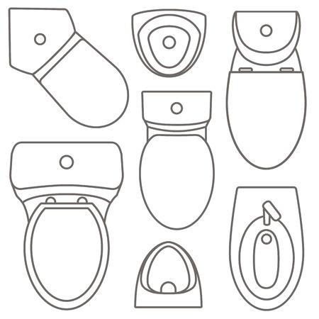 Kolekcja Widok Z Góry Sprzęt Toaletowy Do Projektowania Wnętrz Ilustracja Kontur Wektor Zestaw różnych typów umywalek. Ilustracje wektorowe
