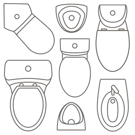 Toilet equipment top view collection for interior design.Vector contour illustration. Set of different toilet sinks types. Stock Vector - 101596095