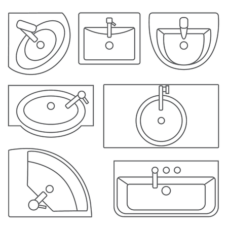 Sinks top view collection.Vector contour illustration. Set of different wash basin types.