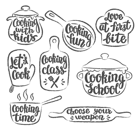 Collection of grunge contoured cooking label or logo. Hand written lettering, calligraphy cooking vector illustration. Cook, chef, kitchen utensils icon or logo. Stock Vector - 101729165