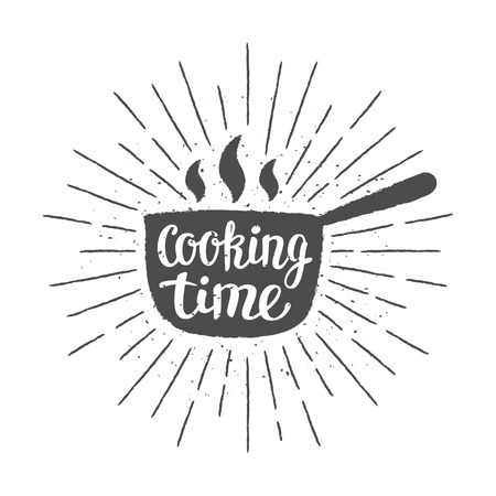 Pot silhoutte with lettering - Cooking time - and vintage sun rays. Good for cooking logotypes, bades or posters. Stock Vector - 101580511